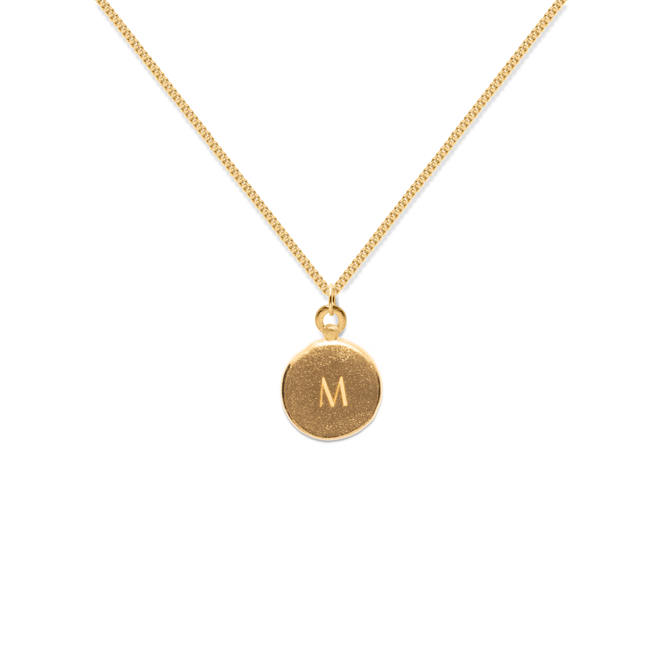 Fluid Letter A-Z Medaillon Necklace 24ct Gold Vermeil