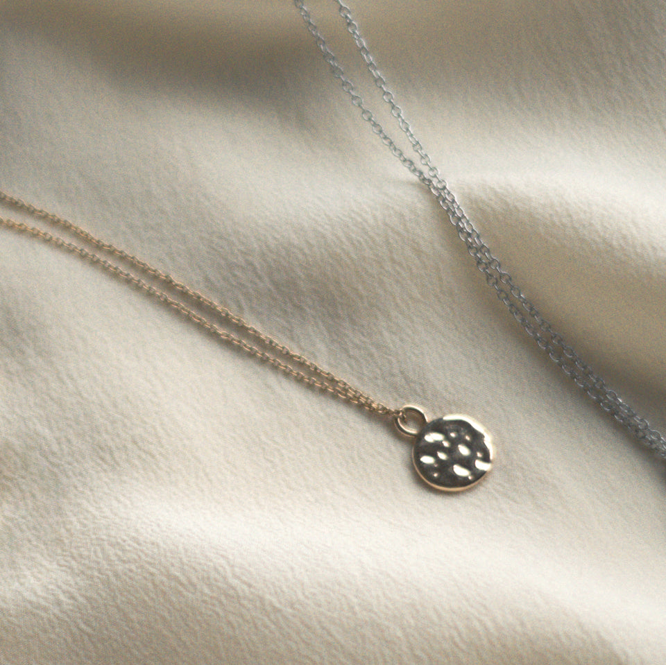 Gold Meadow Pendant + Silver Anchor Chain