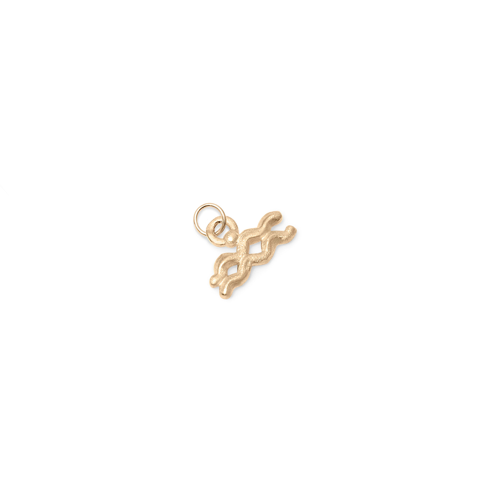 Zodiac Charm Pendant (Aquarius) Solid Gold 14 ct
