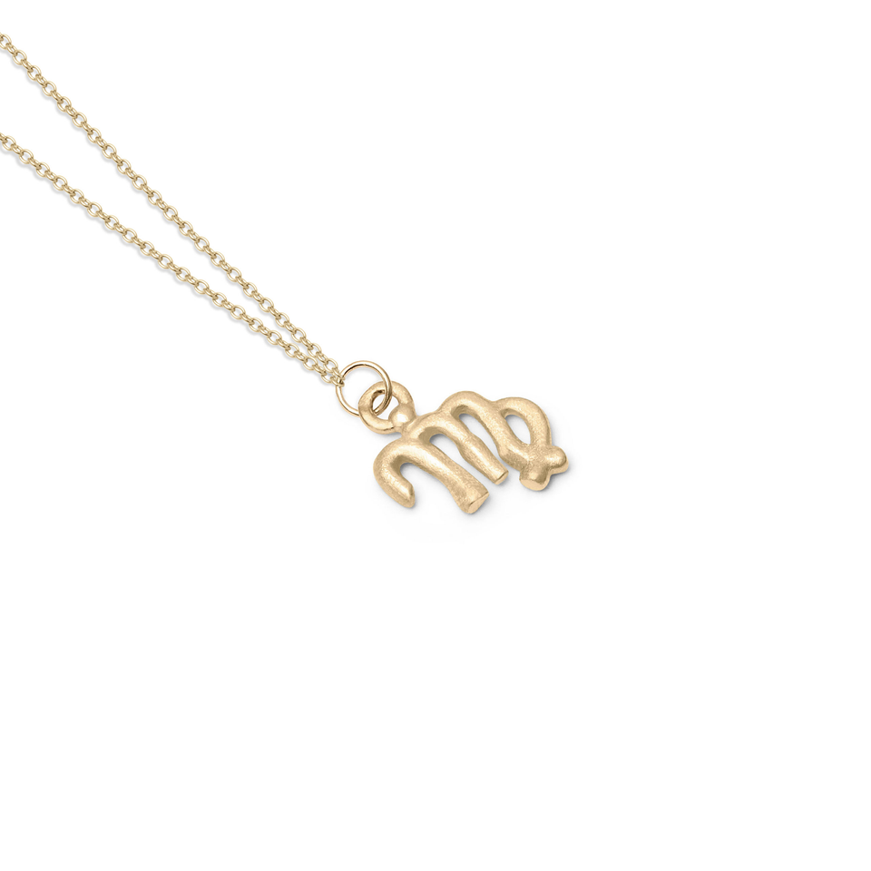 Zodiac Charm Necklace (Virgo) Solid Gold 14 ct