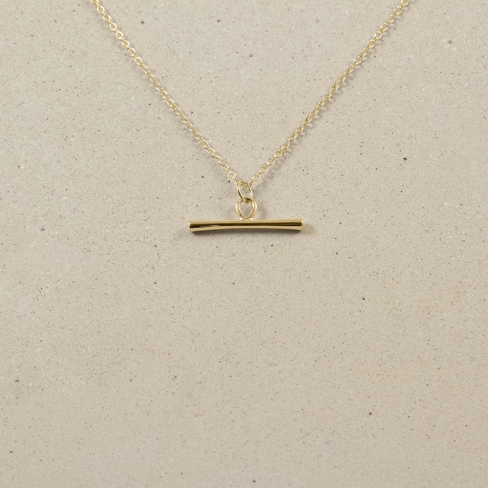 Bonds Path Bar Necklace - Solid Gold
