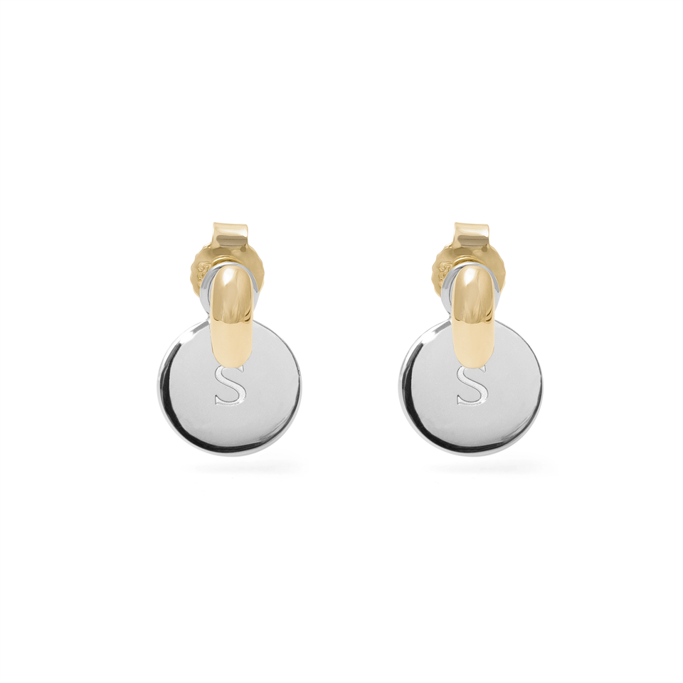 Engravable Meadow Pendant Pair Silver + Tide Studs Gold