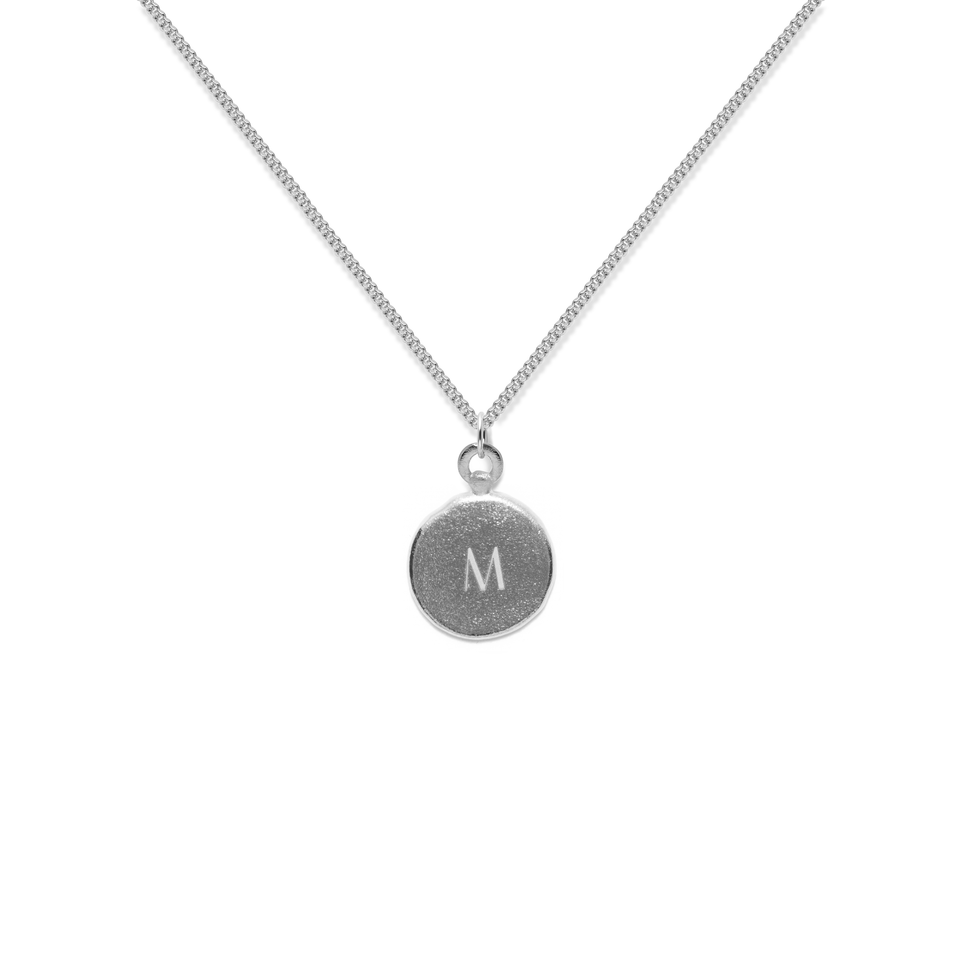 Fluid Letter A-Z Medaillon Necklace 925 Silver