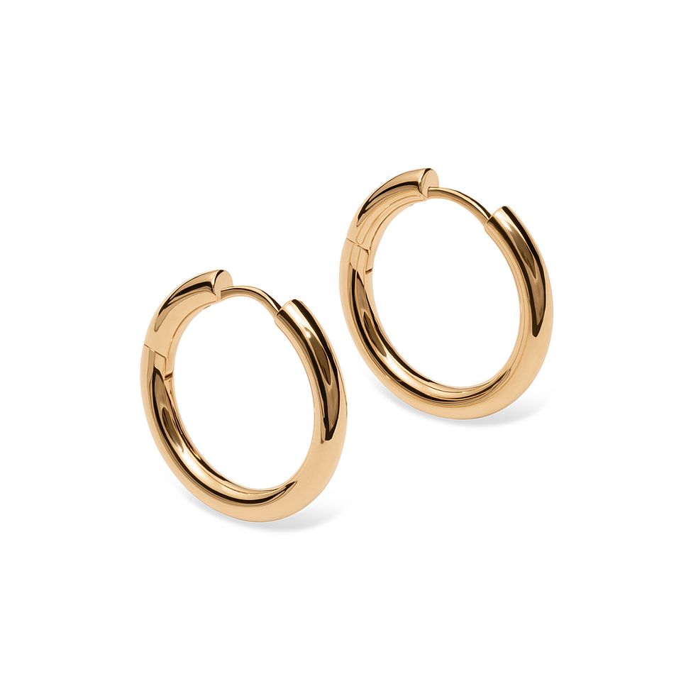 14k Gold Bold Hoop Earrings Stilnest