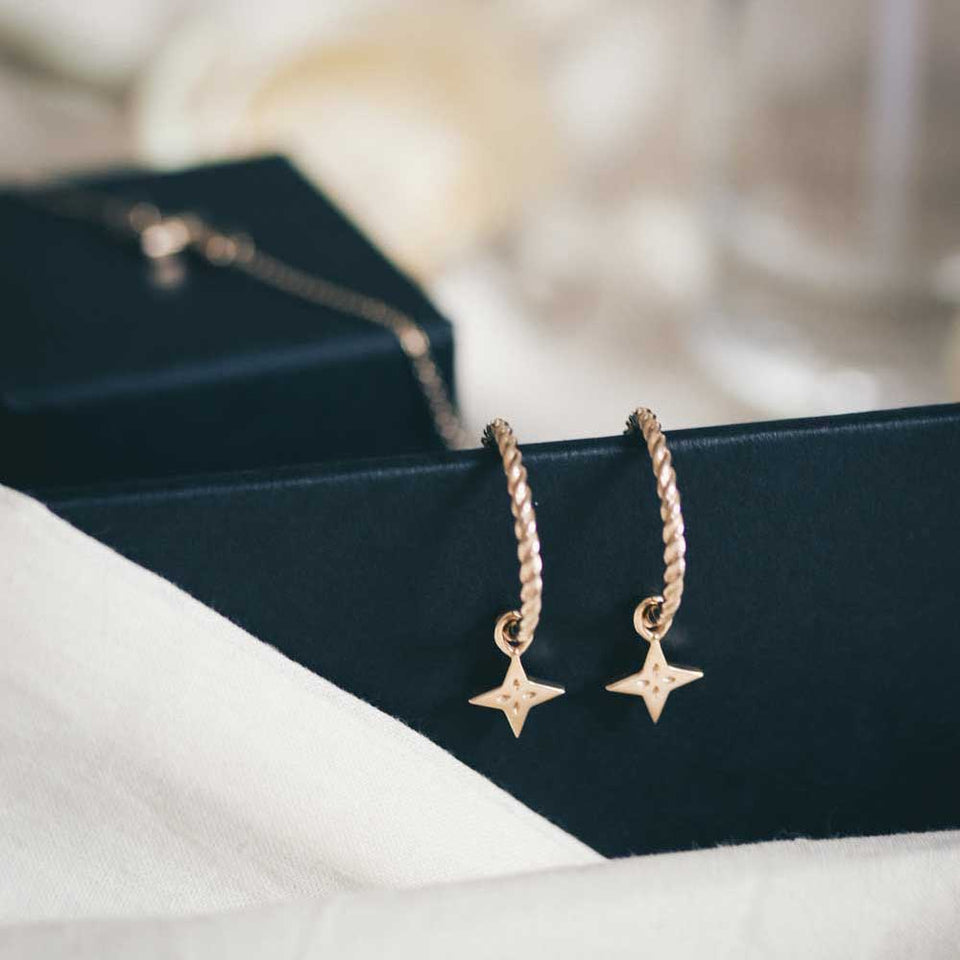 Shooting Star Pendant Set (Pair) - Solid Gold