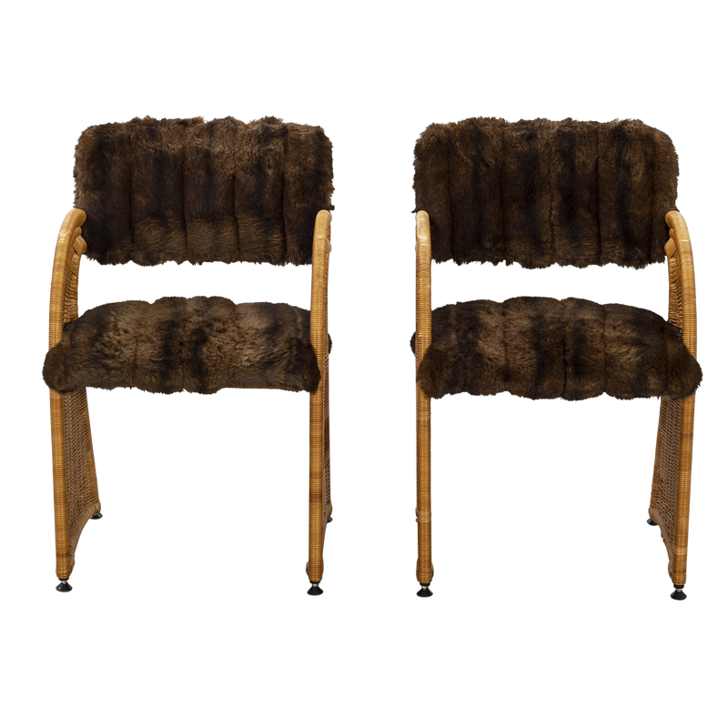 Pair of Wicker & Fur Armchairs, Swedish, 1970's
