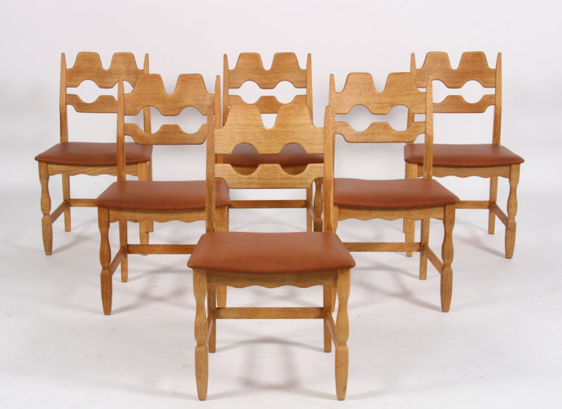 Set of Six Dining Chairs in Cognac Leather by Henning Kjærnulf, Danish