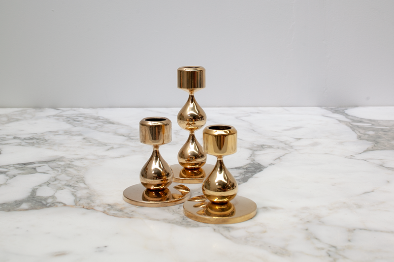 Rasmusen Gold plated Candle Holders, Danish