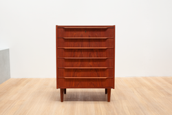 Teak Chest of Drawers, Wave Lipped Handle, Danish, 1970's