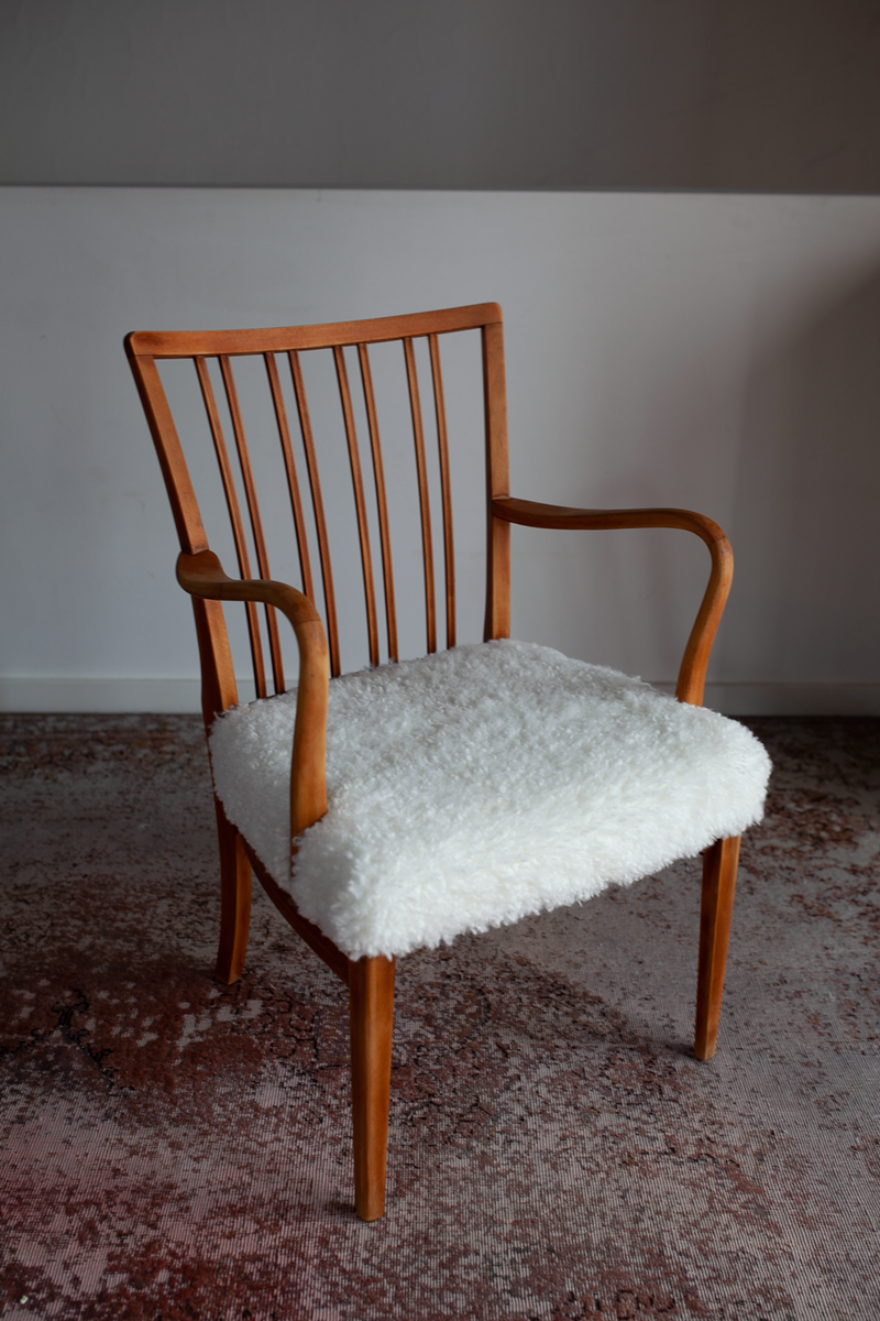 Armchair in Beech & Sheepskin, Danish, 1960's