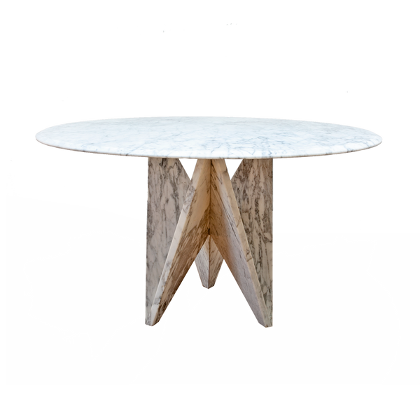 Sculptural Based Carrara Marble Dining Table