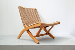 Japanese Folding Chair with New Papercord, 1960s, Japan
