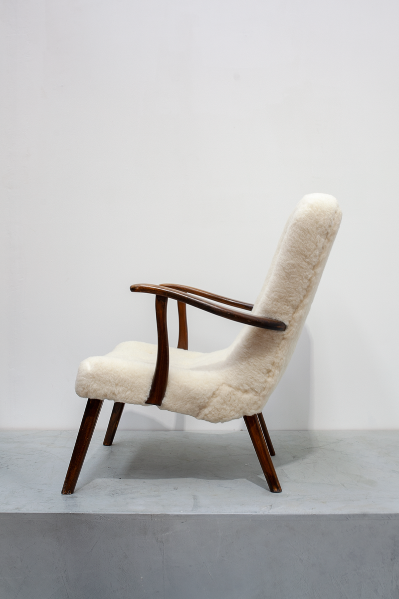 Easy Chair in Lambskin Wool, Denmark, 40's