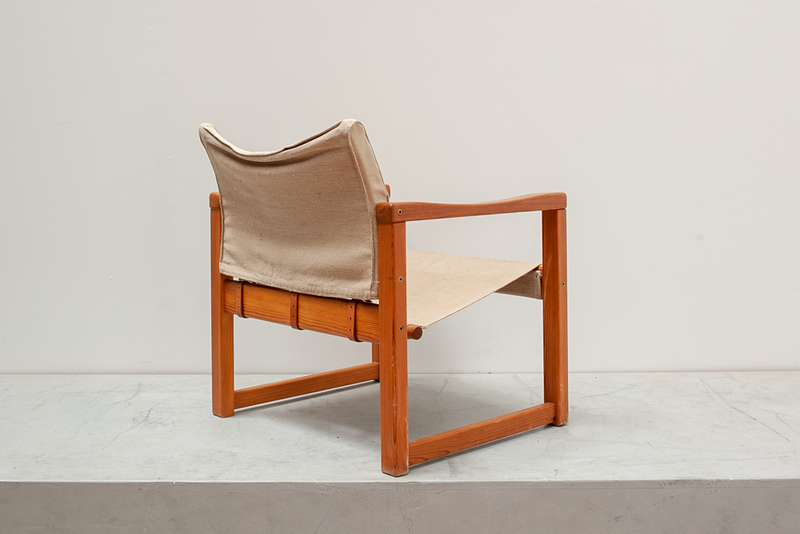 Canvas Sling Chair With Buckles, Denmark, 1960's
