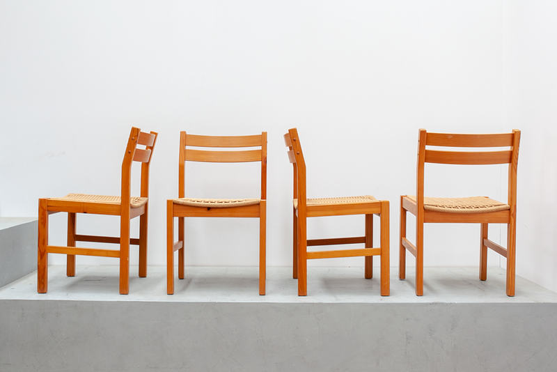 Woven Paper Cord Dining Chairs, Danish, 1970's