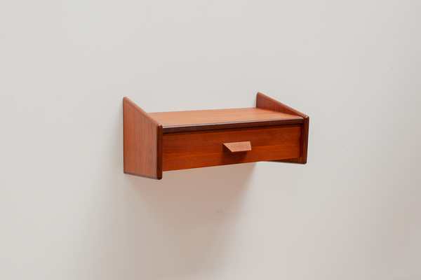 Floating Teak Wall Mounted Bedside Table, Danish, 1960s