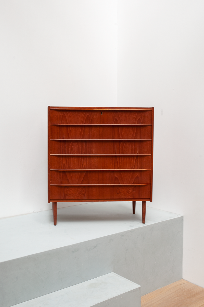 Wide Teak Lipped Chest of Drawers, Danish, 1960's