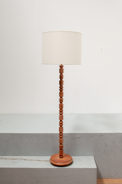 Fine Turned Wooden Pine Lamp Canvas Shade, Denmark