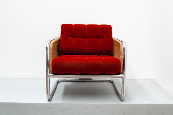 Chrome & Wicker Cantilever Arm Chair by Martin Visser, 1970's