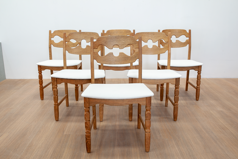 Six Rounded Razor Back White Dining Chairs by Henning Kjærnulf, Danish