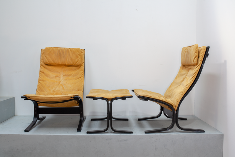 Tan Leather Siesta Chairs by Ingmar Relling for Westnofa, 1960's
