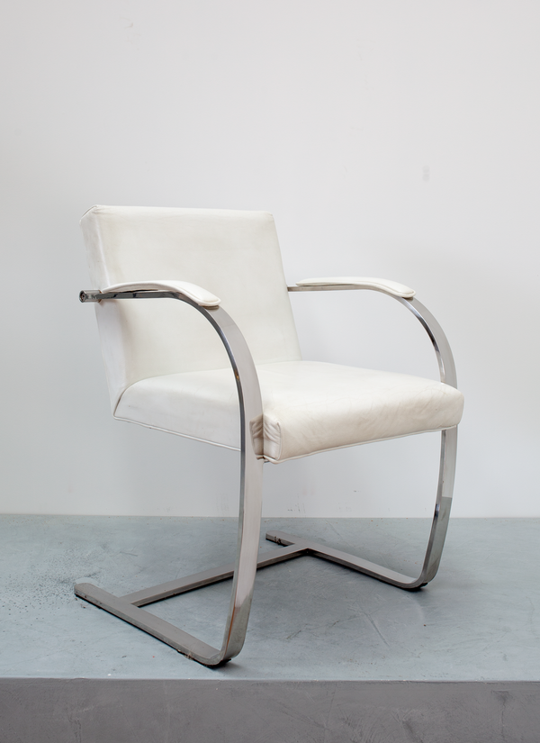 Set of four White chrome Side Chairs, 2000's