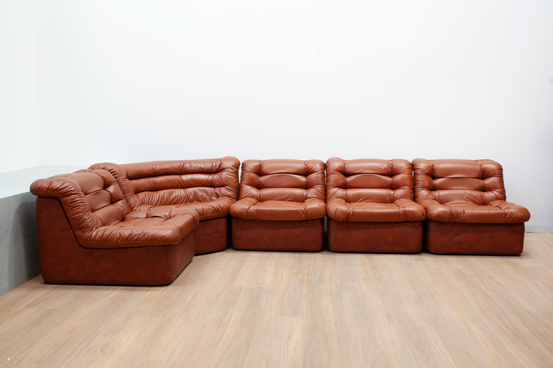 Modular Sofa in Coganc Leather, Sweden, 1970's