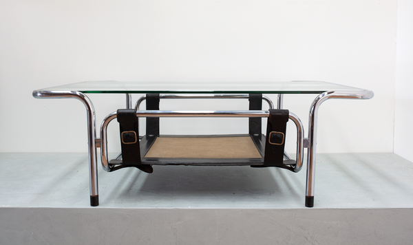 Coffee Table, Chrome with Leather Buckles, Italian, 1970's
