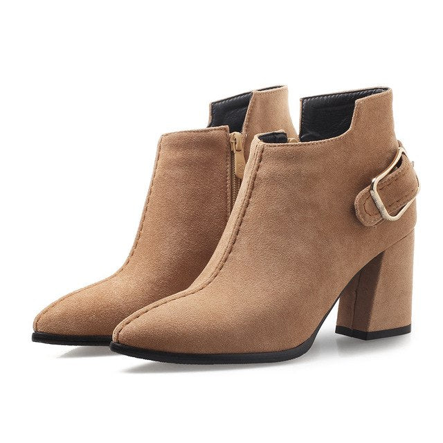 Women+7.5cm+High+Heels+Ankle+Boots+Thick+Block+Heels+Winter+Short-Plush-Maroon+Tan+Boots+Brown+Suede+Dress+Shoes