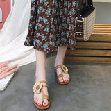 Brown Flower Bohemia Sandals