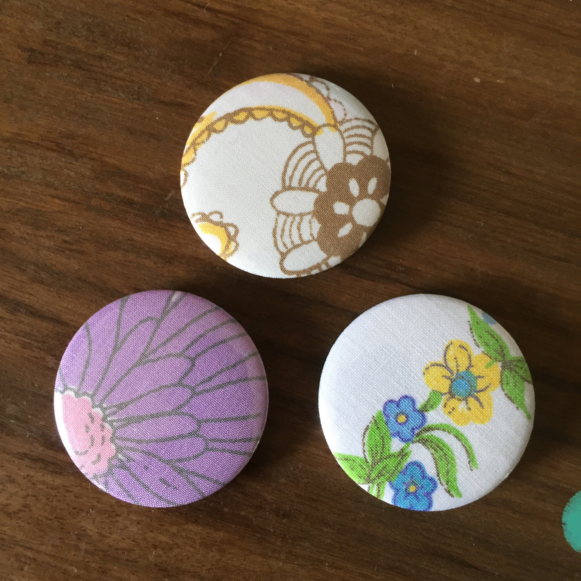 Upcycled Fabric  Badge Set