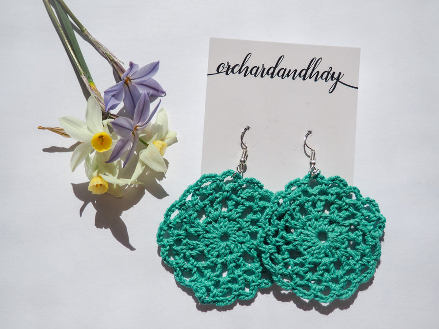 HAND CROCHET MINI DOILY EARRINGS