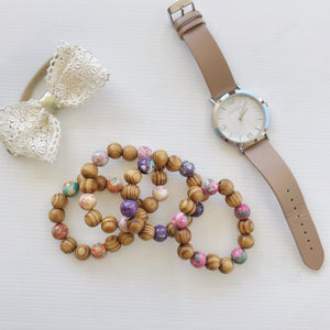ADULT WOOD BEADED BRACELET