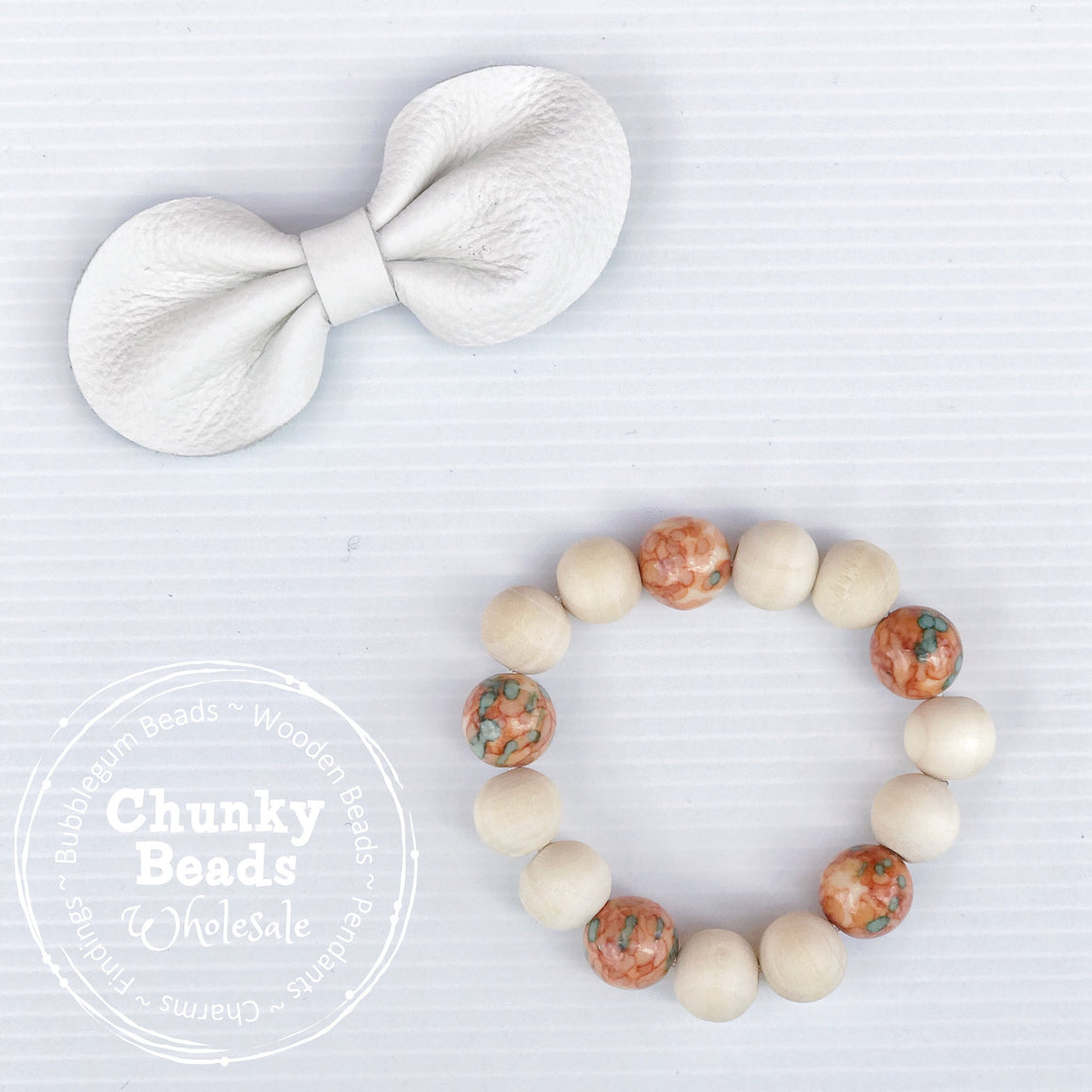 NATURAL WOOD KIDS BEADED BRACELET