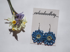 HAND CROCHET FLOWER DOILY EARRINGS