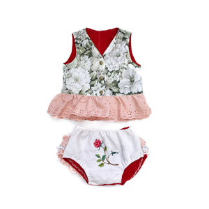 SIZE 2 - REVERSIBLE RUFFLE TOP & BLOOMERS SET