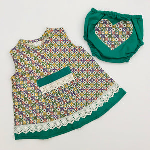 SIZE 12 - 18 MONTHS BABY DRESS AND NAPPY COVER SET