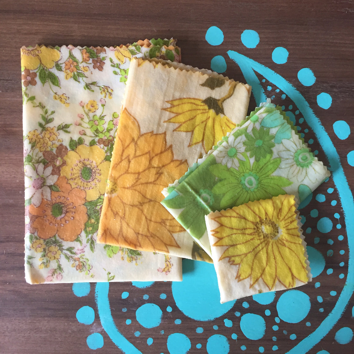 4 PACK - BEESWAX FOOD WRAPS