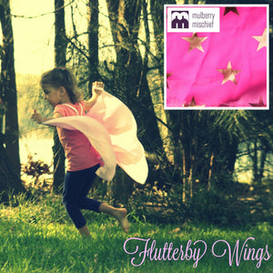 SIZE 4-5 GOLDEN STAR ON PINK  FLUTTERBY WINGS