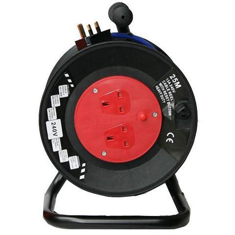 240 Volt 13 Amp 2 Way Cable Reel 25m - Orbit - Site Electrical - Lapwing UK