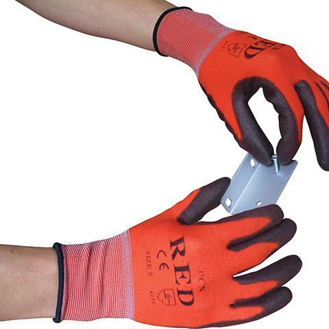 Cut Level 1 Red Traffic Gloves