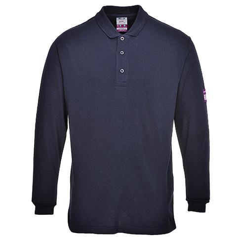 Flame Retardant Navy Polo Shirt Long Sleeved