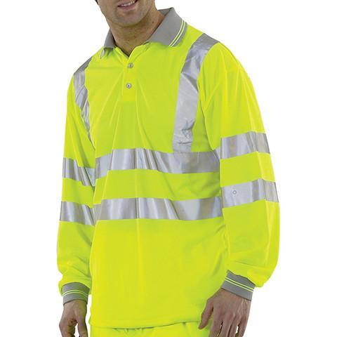 Class 3 Long Sleeved Hi Viz Polo Shirt - Azured - General Hi Vis - Lapwing UK