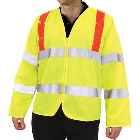 Class 3 Hi Viz Long Sleeved Waistcoat Red Brace - Azured - General Hi Vis - Lapwing UK