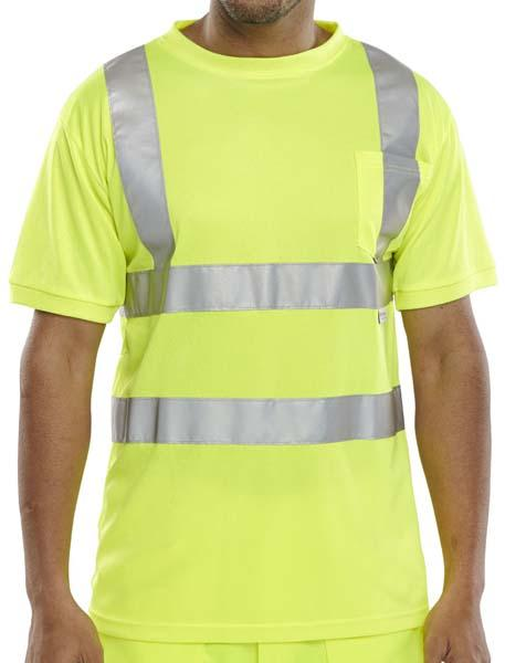 Crew Neck T-shirt - Yellow - Azured - General Hi Vis - Lapwing UK