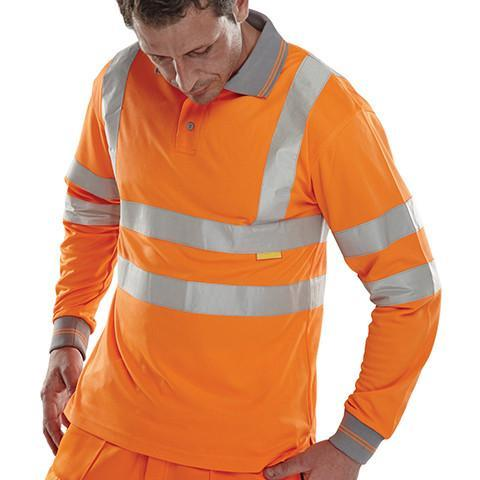 Class 3 Long Sleeved Orange Hi Viz Polo Shirt - Azured - Rail Spec - Lapwing UK