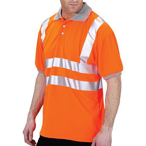 Class 2 Orange Hi Viz Polo Shirt - Azured - Rail Spec - Lapwing UK