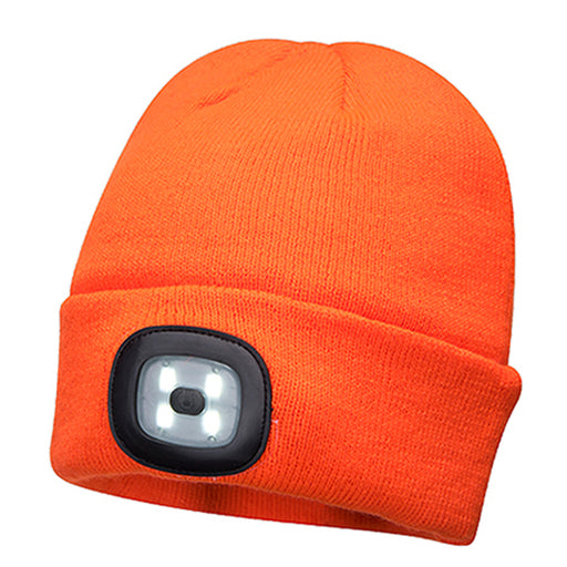 Beanie with LED Twin Head Light - Orange