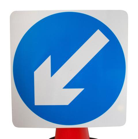 Plastic Cone Signs: Blue Arrow Left - Orbit - Temporary Road Signs - Lapwing UK