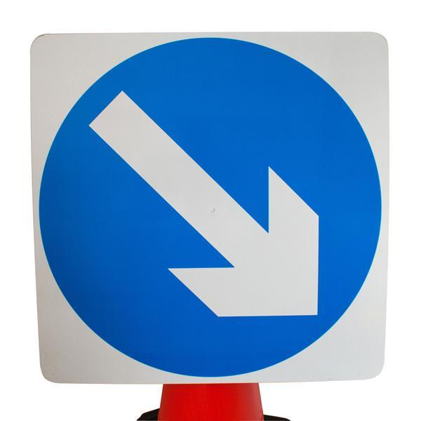 Plastic Cone Signs: Blue Arrow Reversible - Orbit - Temporary Road Signs - Lapwing UK
